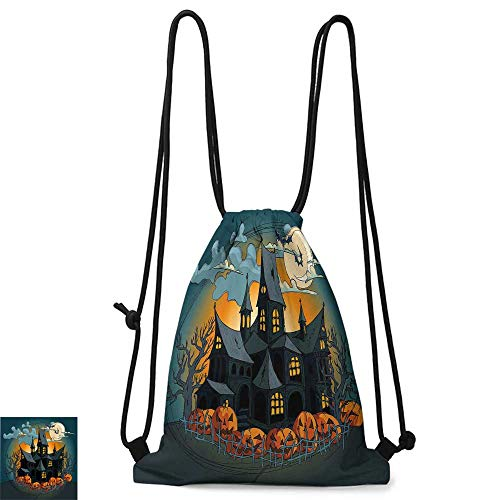 School backpack Halloween Decorations Medieval Haunted House with Garden Full of Pumpkins and Dark Night W14