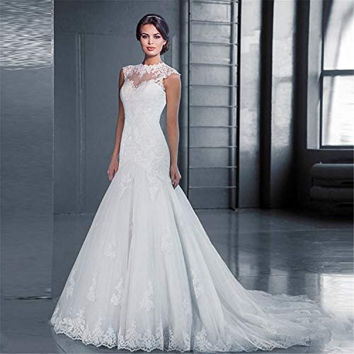 ZZZHS Frauen Hochzeitskleid, High Collar Lace Slim Fishtail Trailing Größe Custom war dünn schlank Rock für Abschlussball, Abendgesellschaft Cocktail Hochzeit