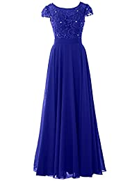 MACloth Women Cap Sleeve Mother of Bride Dress Vintage Lace Evening Formal Gown