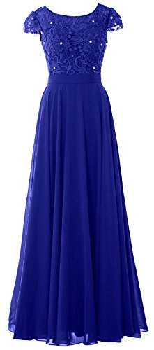 MACloth Women Cap Sleeve Mother of Bride Dress Vintage Lace Evening Formal Gown Azul Real