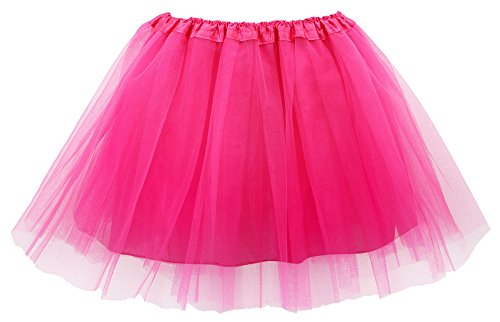 Simplicity Women's Classic Elastic 4-Layered Tulle Tutu Skirt,Rose