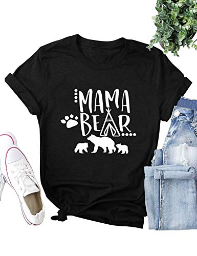 Dresswel Women Mama Bear Shirt Batwing Long Sleeve Sweatshirt Loose Fit Casual Tops T Shirts with Pockets (S, Short Sleeve Black)
