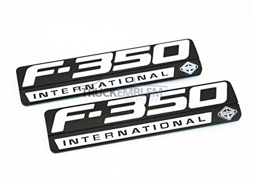 2 NEW (PAIR) SET CUSTOM MATTE BLACK & WHITE F350 POWERSTROKE FORD INTERNATIONAL FENDER BADGES EMBLEMS