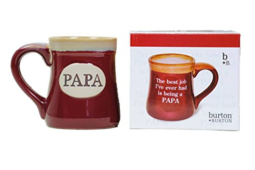 Papa Best Job Ever Porcelain Burgundy Coffee Tea Mug Cup 18oz Gift Box