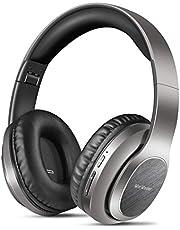 WorWoder 80 timmar trådlösa hörlurar över örat, Bluetooth 5.0 trådlöst och trådbundet läge, HiFi stereo hopfällbart Bluetooth-headset, mjukt minnesskum öronmuffar för arbete resor online klass (grå)