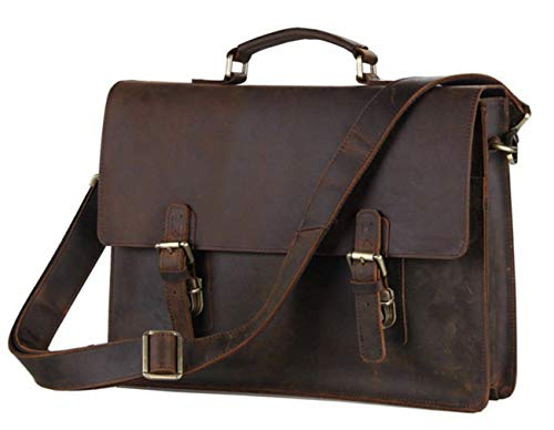 SAIERLONG Men Classic Retro Cowhide Genuine Leather Business handbag(SAIJMD26-1-Dark ()