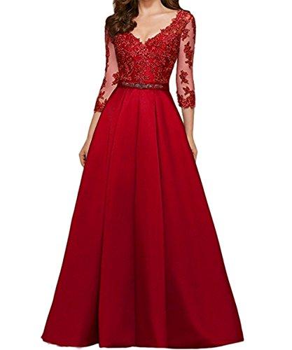 Damen Maxi Ball Abendkleider Ausschnitt Party Langarm KAIDUN V Rot gwS0nd