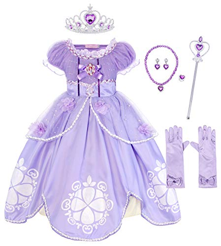 (HenzWorld Sofia Belle Cinderella Rapunzel Ariel Little Mermaid Snow White Princess Dress Up Costume Accessories Set (Purple, 8-9 Years))