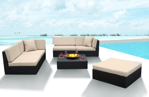 Outdoor Wicker Furniture New All Weather PE Resin 6pc Patio Deep Seating Sectional Sofa Set.