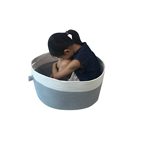 Iceblue XXL Jumbo Toy Storage Cotton Rope Basket Hamper with Built-in Handles
