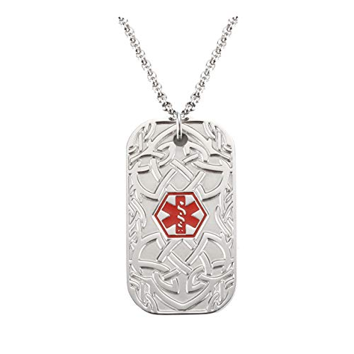 (BAIYI Medical Alert ID Necklace Stainless Steel Celtic Pattern Dog Tag for Men Women 24 inch Free Engraving)