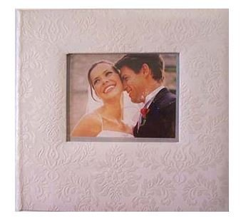 New Seasons Ivory Damask 200 Image Horizontal Wedding Picture Album with Front Photo Window