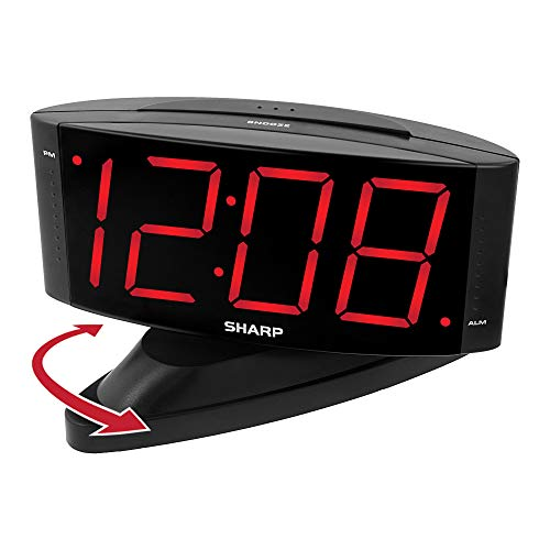Amazon.com: Sharp Digital Alarm Clock with Easy to Read Large Numbers and Swivel Base: Home & Kitchen
