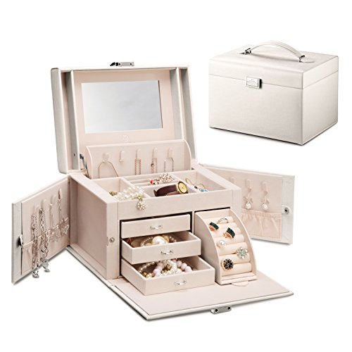 Vlando Faux Leather Mirrored Jewelry Box Organizer Vintage Gift Case w/Lock (Pearl White)