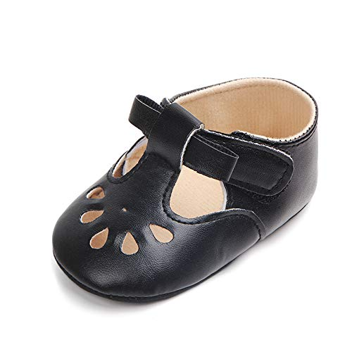 Enteer Baby Girls' Retro Leather Hollow Mary Jane Shoes Black US 4