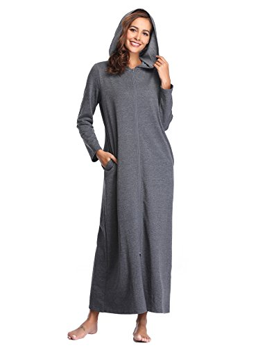 Lusofie Robes for Women Zipper Front Hoodie Long Bathrobe with Pockets Loungewear