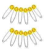 12pcs Baby Smile Safety Pins,Safe Hold Clip Locking Cloth Diaper,Stainless Steel and Bright color,Best Smile for Your Baby,Yellow