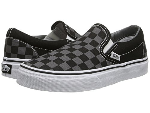 Vans Classic Slip On White Womens Trainers (9.5 B(M) US Women / 8 D(M) US Men, Black Pewter Grey Checkerboard)