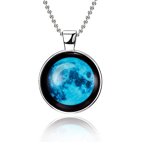 iDMSON Glow In The Dark Necklace - Magical Fairy Moon Charms Pendant Necklace Bead Chain White Gold Plated Jewelry (Style -