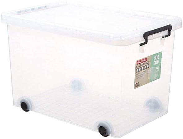 LASTARTS - Caja de Almacenamiento de plástico Transparente para Guardar Ropa de Juguetes, con Tapa, con Rueda, tamaño Grande, Polipropileno, No Wheel, (19L) UK: Amazon.es: Hogar