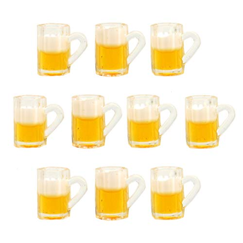 JETEHO 10Pcs Dollhouse Mugs Miniature Cups Dollhouse Beer Cup Mug Model for Miniature Dollhouse Accessories