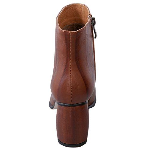 AIYOUMEI Damen Blockabsatz Leder Kurzschaft Stiefeletten mit 7cm Absatz High Heels Winter Stiefeletten Braun