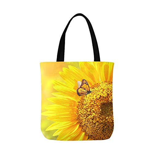 InterestPrint Beautiful Yellow Sunflower with Butterfly Canvas Tote Bag Tote Shopping Bag Washable Grocery Tote Bag, Craft Canvas Bag for Women Men Kids