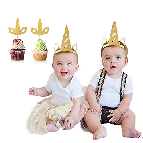 Fulol Handmade Unicorn Cake Topper Set with 12PCS Cap and 12PCS Glitter Gold Unicorn Horn Shape Handheld Cupcake Toppers - Unicorn Party Decorations Kit for aby Shower Birthday Wedding Party Favors