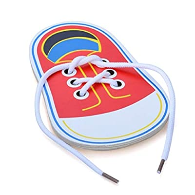 Cogihome Children Toys, Wooden Lacing Shoe Toy Learn to Tie Laces Threading Educational Motor Skills Toys: Appliances