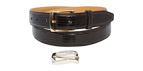 Size 42 Dark Brown Genuine Lizard Dress Belt - 1 ¼ inch (32mm) Wide Shiny Glazed - Gold & Silver Buckles Included – Factory Direct Price - Gift Box - Made in USA by Real Leather Creations
