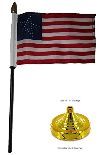 (ALBATROS 35 Great Star USA American 4 inch x 6 inch Flag Desk Set Table Wood Stick Staff with Gold Base for Home and Parades, Official Party, All Weather Indoors Outdoors)