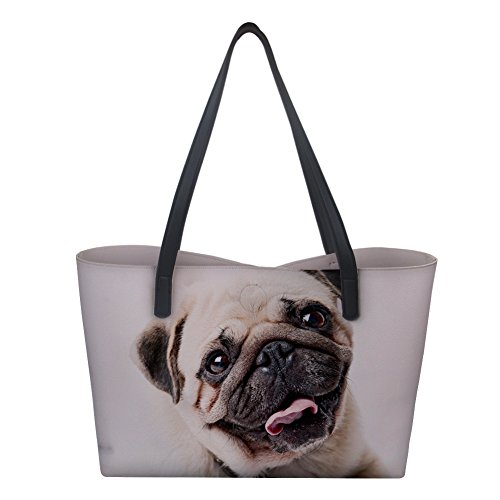 mujer White de Bolso asas para Pug Large Showudesigns Dog 48Ixpw8