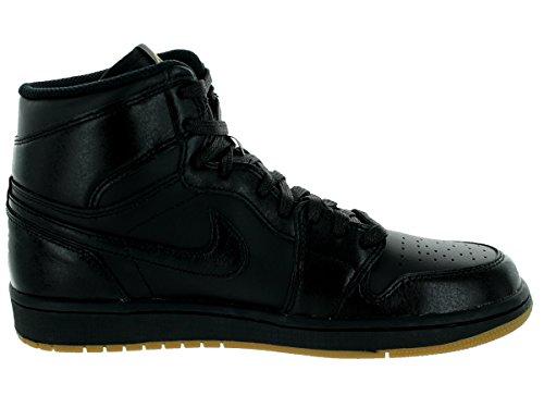 Nike Heren Air Jordan 1 Mid Basketbalschoen Zwart, Zwart-gum Lichtbruin