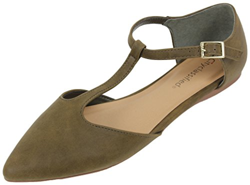 Khaki Pointy Toe Classified City Women's Flat Strap T Sandal tBBqwU8E