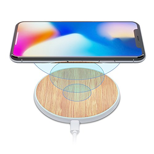 iPhone X/8 Qi Best Wireless Charger Pad Kit by Wuteku New 2018 Upgraded | Stylish Natural Bamboo Wood Look Thin Slim Design | Compatible Samsung and Apple Enabled Devices | Sleep Charging Friendly LB