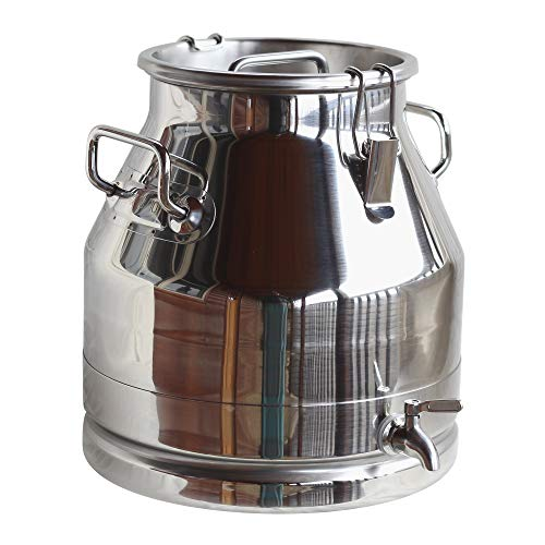 Stainless Steel Milk Can (WITH SPIGOT), Heavy Duty with Strong, Sealed Lid (5 Gallon) ()