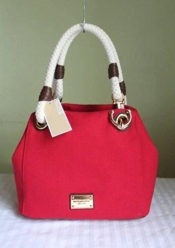 d765e1b344e9 Amazon.com: Michael Kors Red Canvas Rope Anchor Marina Grab Bag Tote Purse:  Shoes