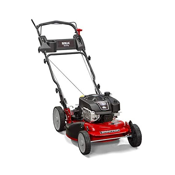"""Snapper RP2185020 / 7800981 NINJA 190cc 3-N-1 Rear Wheel Drive Variable Speed Self-Propelled Lawn Mower with 21-Inch Deck and Ready Start System, Ninja Mulching Blade and 7 Position Heigh-of-Cut 4 <p>Snapper RP2185020 NINJA Series Lawn Mower. Best mower for mulching fans, the Snapper Ninja walk-behind lawn mower's powerful blade with 6 cutting surfaces finely mulches grass clippings while the deck blows them back into your yard. This Snapper 21"""" lawn mower features a rear wheel drive system with high 10"""" rear wheels for superior traction on hills & thick grass. The reliable Briggs & Stratton professional series OHV engine keeps you going with professional-grade features from ready start technology to quieter operation & increased durability. Briggs & Stratton 850 professional Series engine with ready start starting system no priming, no choking. Just pull and go Rear wheel drive improves walk behind mower traction and the smooth turn differential helps ensure easy maneuverability without damaging your grass Ninja blade features 6 powerful cutting surfaces to finely mulch your grass while the deck design blows them back into the lawn Rugged solid Steel front Axle and stamped Steel mower deck provides long lasting performance season after season Easily change the height of cut with the easy to use adjustment handles (7 height of cut adjustments from 1.25 Inch to 4 inch)</p>"""