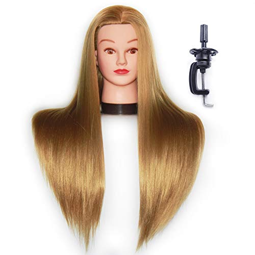 HAIREALM 26 Mannequin Head Hair Styling Training Head Manikin Cosmetology Doll Head Synthetic Fiber Hair (Table Clamp Stand Included) (blonde)