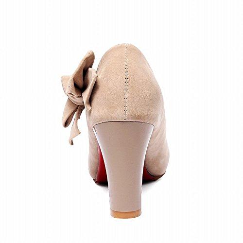 Carolbar Vrouwen Strikken Chique Elegantie Mode Charme Partij Dikke Hoge Hak Jurk Pumps Schoenen Naakt