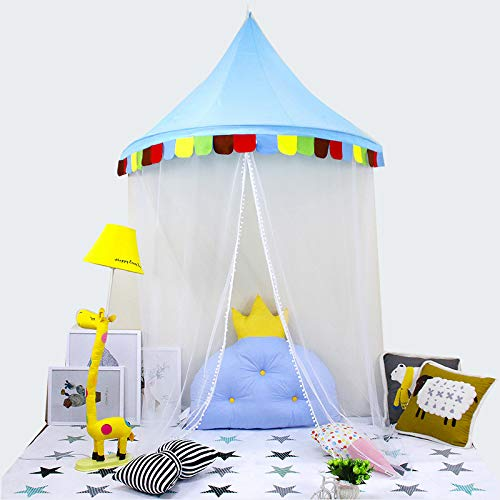 LifeEase Baby Bed Canopy, Princess Hanging Play Tent, Round Hoop Mosquito Netting for Bedroom Decoration, Study Indoor Reading Corner, Children Play Tent Castle (Dark Blue)