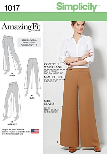 Simplicity Ladies Sewing Pattern 1017 Amazing Fit Wide Leg Trousers ...