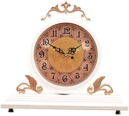 *reloj de mesa Reloj de mesa Sala de estar Decoración Dormitorio Relojes de escritorio Funciona con pilas Sin tictac Vintage Europeo Retro Números ...