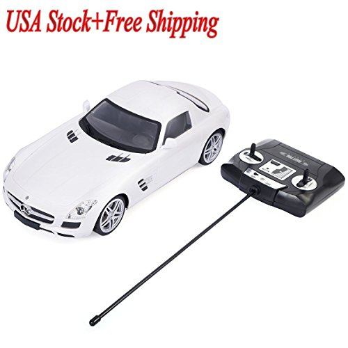 (White New 1/14 Scale Licensed Mercedes Benz SLS AMG Radio Remote Control RC Car ,#G14E6GE4R-GE 4-TEW6W295032)