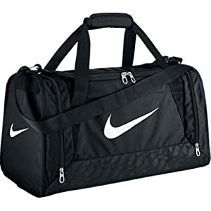 New Nike Brasilia 6 Small Duffel Bag Black/Black/White