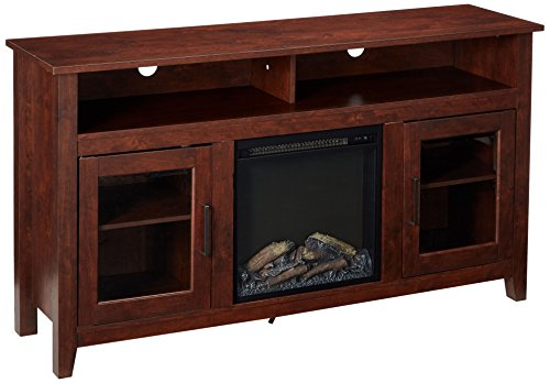 8HBTB Tall Fireplace TV Stand, Brown ()