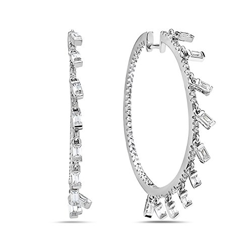 Crush & Fancy 925 Sterling Silver Pave Crystal with Dangling Crystal Baguettes Large Hoops 35 mm Women's Inside-Out Crystal Hoop Earrings | RYAN