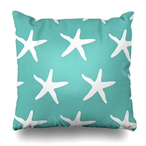 Suesoso Decorative Pillows Case 16 x 16 Inch Aqua Blue White Starfish Throw Pillowcover Cushion Decorative Home Decor Garden Sofa Bed Car from Suesoso