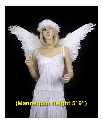 White Unisex Butterfly Style Costume Feather Angel Wings Dress Up Cosplay ()