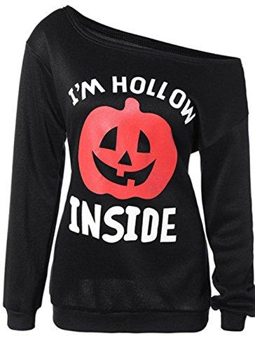 Women Halloween Scary Pumpkin Print Off Shoulder Hoodie Sweatshirts Black S - Girl Costumes For Halloween Tumblr